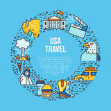 The USA symbols in line style Stock Photos