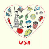 USA Symbols Pen Drawn Doodles Vector Collection Royalty Free Stock Photos