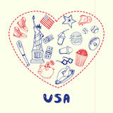USA Symbols Pen Drawn Doodles Vector Collection Stock Photo