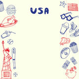 USA Symbols Pen Drawn Doodles Vector Collection Royalty Free Stock Image