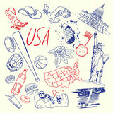 USA Symbols Pen Drawn Doodles Vector Collection Stock Image