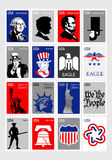 USA Symbols - Set icons framed stamps Royalty Free Stock Photos