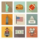 USA symbolsuppsättning royaltyfri illustrationer
