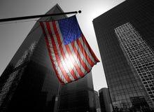 USA symbolu amerykańska flaga nad Czarny i biały nowożytnym losem angeles zdjęcie stock