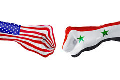 USA and Syria flag. Concept fight, business competition, conflict or sporting events Stock Photo
