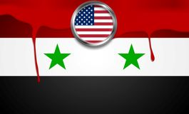 USA and Syria political concept background Stock Image
