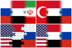 Usa syria russia iran turkey flags Royalty Free Stock Photography
