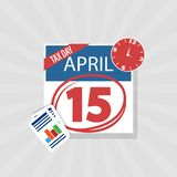 USA Tax Day Warning Icon, April 15th, the Federal Income Tax Deadline Reminder on a Flat Calendar Design with Red Marker royalty free stock images
