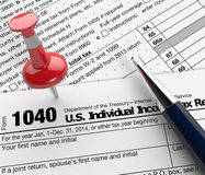 Usa taxes. Close up view of 1040 form for usa taxes, with a pen and a red pin (3d render Vector Illustration