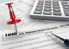 Usa taxes. Close up view of 1040 form for usa taxes, with a pen, a red pin and an electronic calculator (3d render Vector Illustration