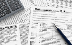 Usa taxes. Top view of forms for usa taxes, with a pen and an electronic calculator (3d render Vector Illustration