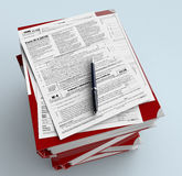 Usa taxes. Top view of a stack of office file folders with forms for usa taxes and a pen (3d render Stock Photos