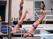 USA Team diving in the Olympic Games 2016 Royalty Free Stock Photos