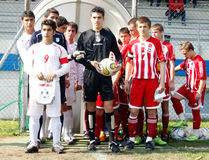 USA team vs IRAN team, youth soccer Royalty Free Stock Photography