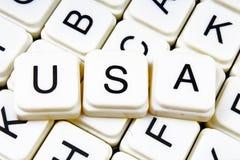 Usa teksta słowa crossword Abecadło list blokuje gemowego tekstury tło Obraz Stock