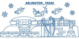 USA, Texas, Arlington winter city skyline. Merry Christmas and Happy New Year decorated banner. Winter greeting card Royalty Free Stock Photo