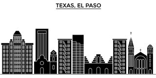 Usa, Texas El Paso architecture vector city skyline, travel cityscape with landmarks, buildings, isolated sights on Royalty Free Stock Photography