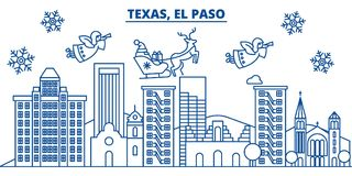 USA, Texas, El Paso winter city skyline. Merry Christmas and Happy New Year decorated banner. Winter greeting card with Royalty Free Stock Photo