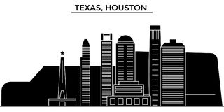 Usa, Texas, Houston architecture vector city skyline, travel cityscape with landmarks, buildings, isolated sights on Royalty Free Stock Photos