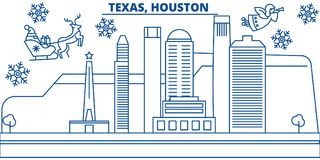 USA, Texas , Houston winter city skyline. Merry Christmas and Happy New Year decorated banner. Winter greeting card with vector illustration