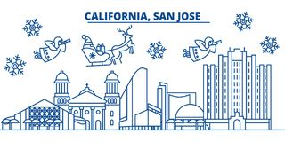 USA, Texas, San Jose winter city skyline. Merry Christmas and Happy New Year decorated banner. Winter greeting card with Stock Image