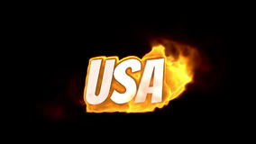 Usa. text on fire. word in fire. high turbulence. Text in flames. Fire word. stock footage