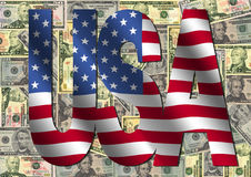 USA text with flag and cash Royalty Free Stock Images