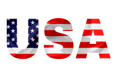USA. The USA text and the Flag of the United States of America, embedded in each letter. Isolated against white background royalty free stock photos