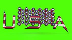 USA-textanimering med chromatangentbakgrund arkivfilmer