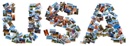 USA textform som är skriftlig med bilder Royaltyfri Foto