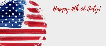 USA 4th of July background. USA Independence day background. Happy 4th of July. Abstract grunge flag in round shape with text. Template for banner, greeting card vector illustration
