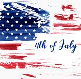 USA 4th of July background. USA Independence day background. Happy 4th of July. Vector abstract grunge flag with text. Template for horizontal banner, greeting stock illustration