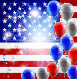 USA 4th july balloons background. A patriotic American USA 4th July or veterans day background with red white and blue party balloons Royalty Free Stock Image