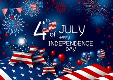 USA 4th july happy independence day design of american flag. With fireworks vector illustration Stock Photos