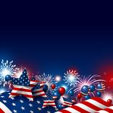 USA 4th of july happy independence day design. Of american flag with fireworks vector illustration Stock Illustration