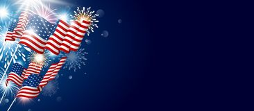 USA 4th july independence day design. Of american flag with fireworks vector illustration Stock Photos