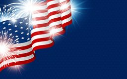 USA 4th of july independence day design. Of american flag with fireworks vector illustration Stock Illustration