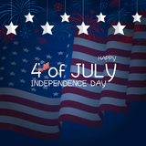USA 4th july independence day design. Of american flag with fireworks vector illustration Royalty Free Stock Photography