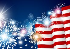 USA 4th july independence day design. Of american flag with fireworks vector illustration Royalty Free Stock Images