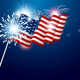 USA 4th of july independence day design. Of american flag with fireworks vector illustration Vector Illustration