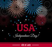 USA 4th of July Independence Day placard, banner or greeting card with fireworks. And stars shape confetti. Vector illustration Royalty Free Illustration