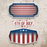 USA 4th of July realistic Labels Collection. USA 4th of July realistic patriotic Labels Collection. Vector Illustration stock illustration