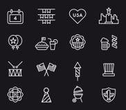 USA 4th Lipiec ikony ilustracja wektor