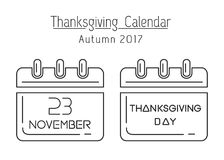 USA Thanksgiving 2017. Thanksgiving calendar line icon set. USA Thanksgiving 2017. November 23. Holiday date in calendar. Vector illustration Vector Illustration