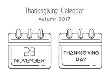 USA Thanksgiving 2017. Thanksgiving calendar line icon set. USA Thanksgiving 2017. November 23. Holiday date in calendar. Vector illustration Stock Image