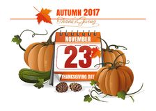 USA Thanksgiving Day 2017. November 23. Festive date in the calendar. Thanksgiving design. Vector illustration Royalty Free Stock Photos
