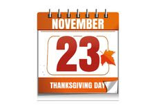 USA Thanksgiving Day 2017. 23 November. Festive date in the wall calendar. Thanksgiving design. Vector illustration Stock Photography