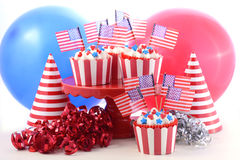 USA theme cupcakes in a party scene. Royalty Free Stock Photos