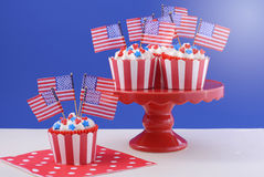 USA theme cupcakes Stock Photography