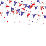 USA themed patriotic buntings and confetti banner Stock Image